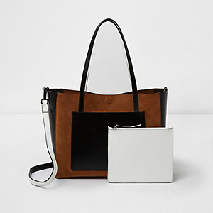 Beige leather color block tote bag
