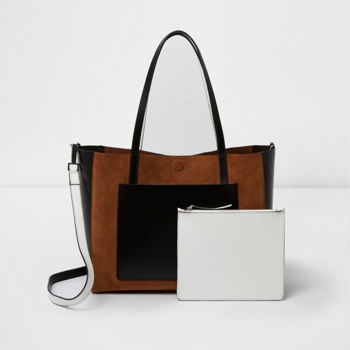 Beige leather color block tote bag