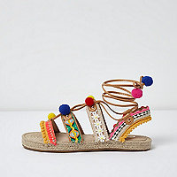 Pink pom pom tie up espadrille sandals