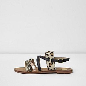 Beige sandalen met bandjes en luipaardprint