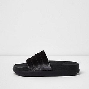 Donkergrijze fluwelen slippers