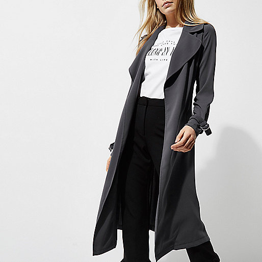 Dark grey belted duster trench coat