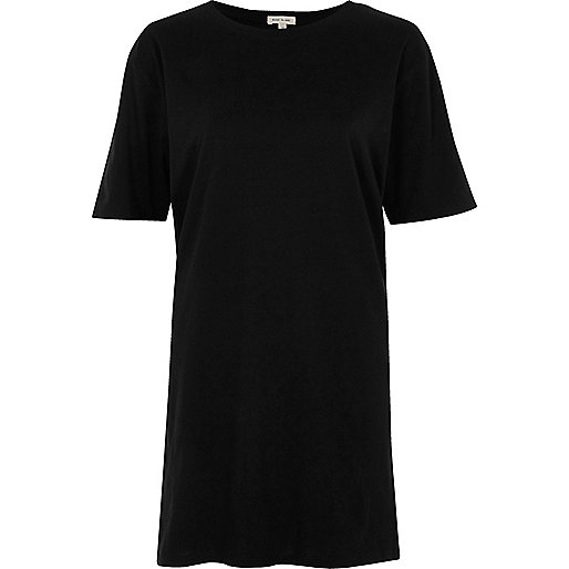 T-shirt noir chiné long