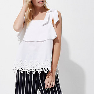 Petite white tie strap crochet hem cami top