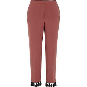 Pantalon court cuivre avec ourlet à franges