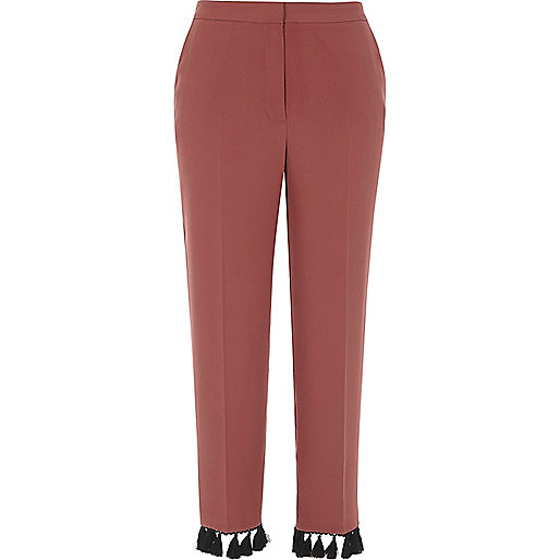 Copper tassel hem cropped trousers