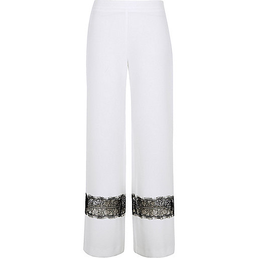 White lace insert wide leg trousers