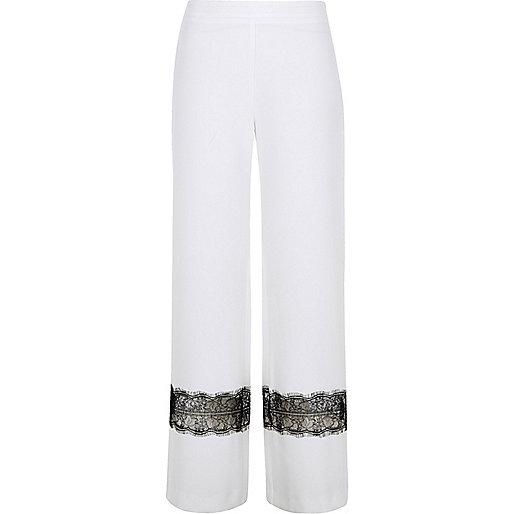 White lace insert wide leg pants
