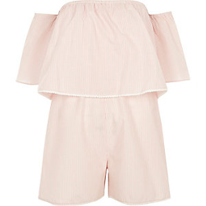 Pink stripe layer bardot playsuit