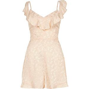 Pink print frill front cami jaquard romper