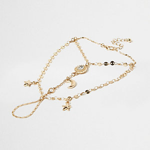 Gold tone charm hand chain
