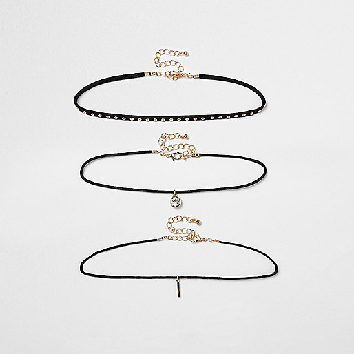 Black studded multi row choker set