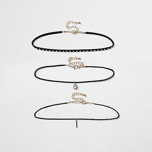 Lot de colliers ras-de-cou multi-rangs noirs cloutés