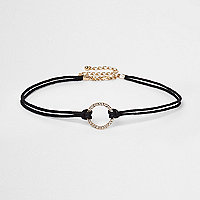 Black rhinestone circle string choker