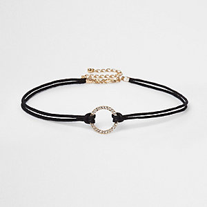 Black diamante circle string choker