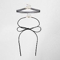 Lot de colliers style cravate texane et ras-de-cou noir avec nœud
