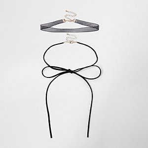 Black bow choker bolo necklace set