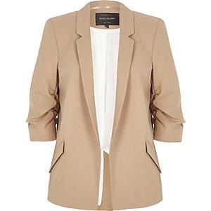 Dark beige ruched sleeve blazer