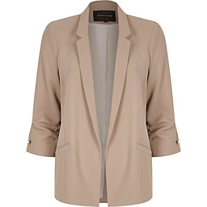 Nude ruched sleeve bar cuff jacket