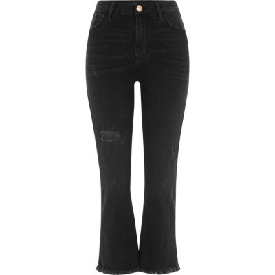 Zwarte wash cropped uitlopende jeans