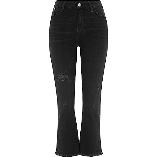 Black wash cropped kick flare jeans