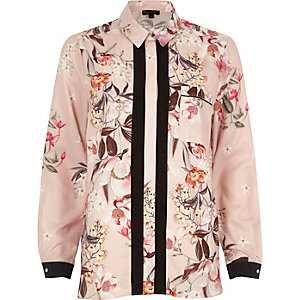 Pink floral print contrast placket shirt