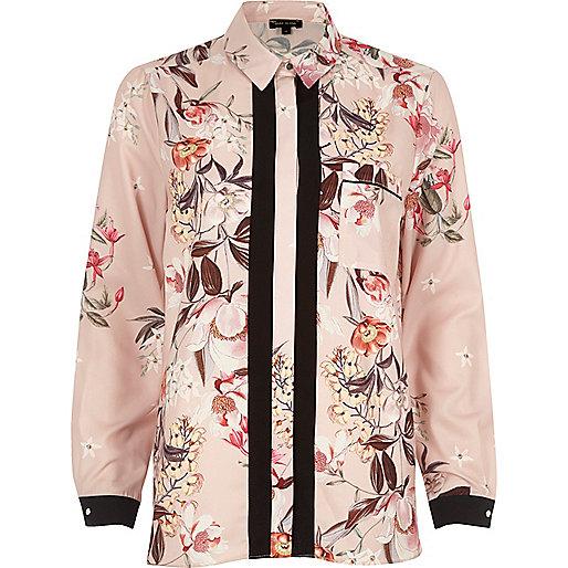 Pink floral print contrast placket shirt