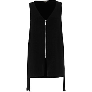 Black contrast zip sleeveless V-neck tank