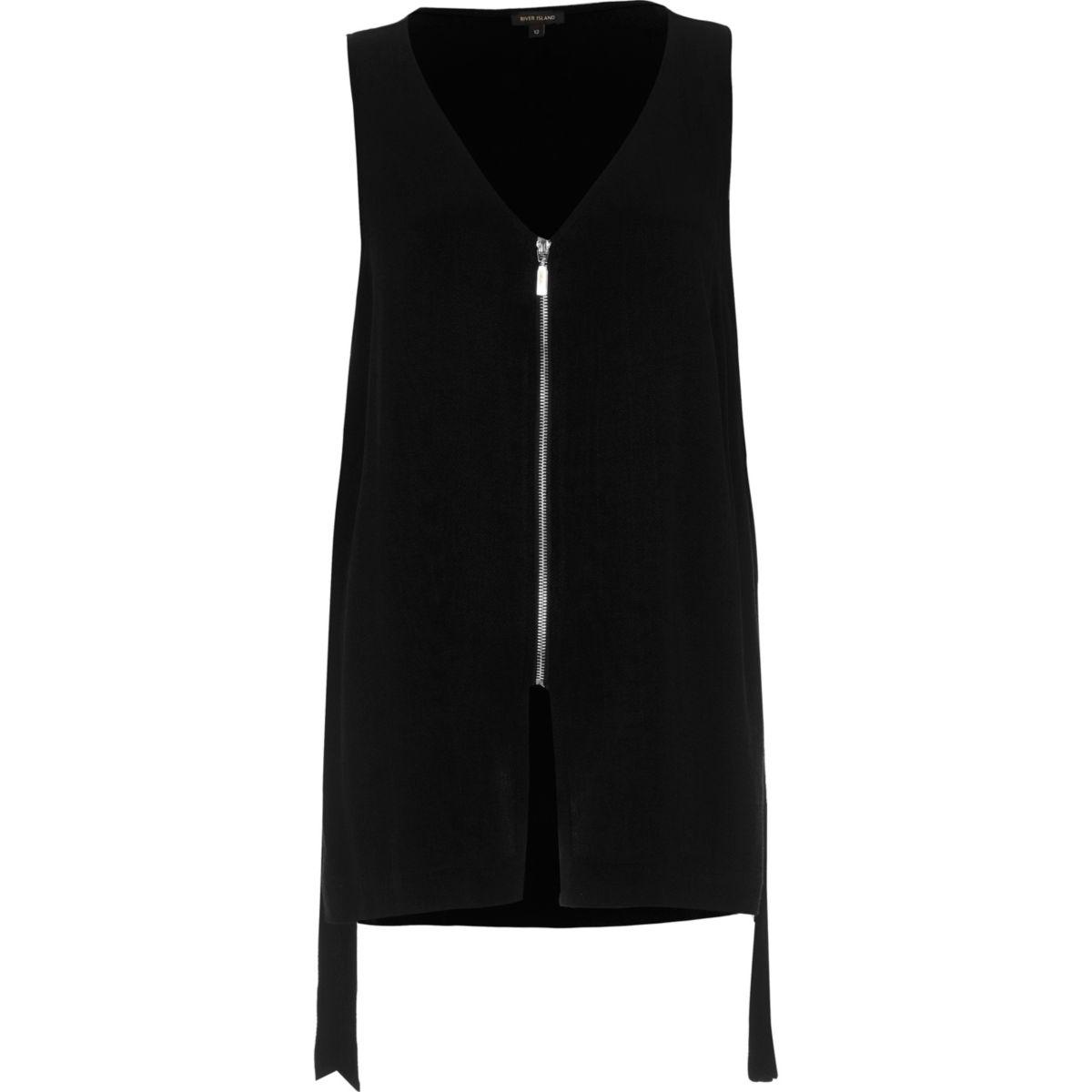 Black contrast zip sleeveless V-neck tank
