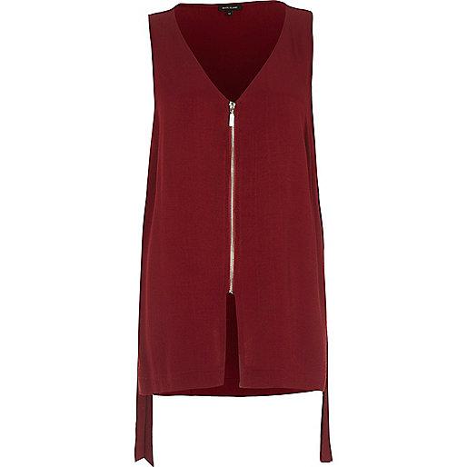Dark red contrast zip sleeveless V-neck tank