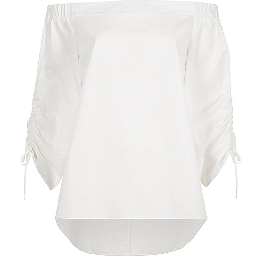 White ruched sleeve bardot top