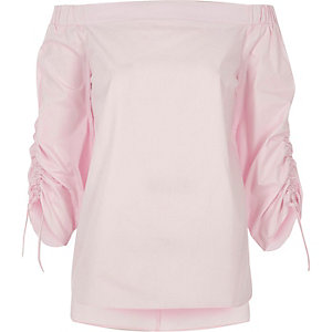 Pink ruched sleeve bardot top
