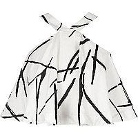 White print poplin halter neck crop top