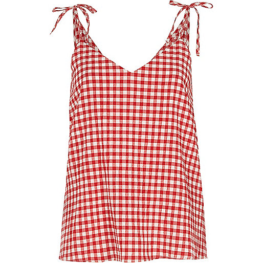 Red check bow shoulder cami top