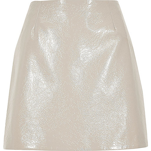 Grey patent mini skirt