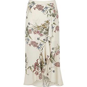 Cream floral frill hem maxi skirt