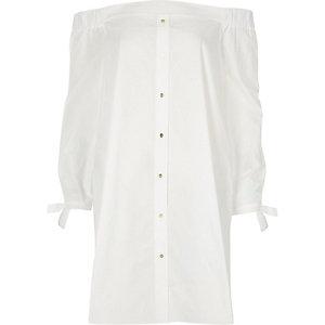 White bardot long sleeve swing dress