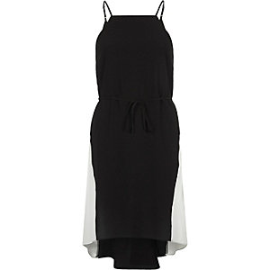 Black contrast panel midi slip dress
