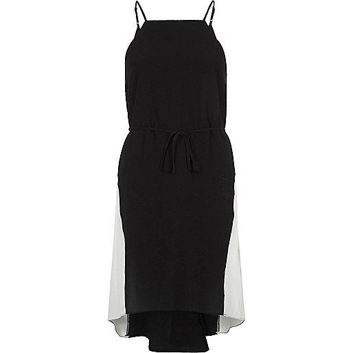 Black contrast panel midi slip dress