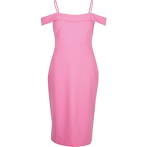 Pink bardot fitted midi dress