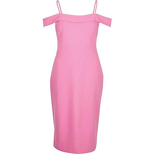 Pink bardot fitted midi dress
