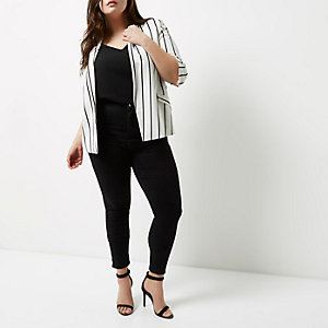 Plus white striped ruched sleeve blazer
