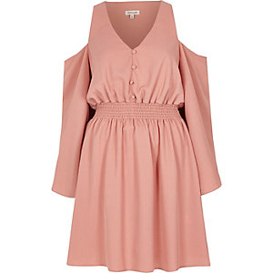Pink cold shoulder button front dress