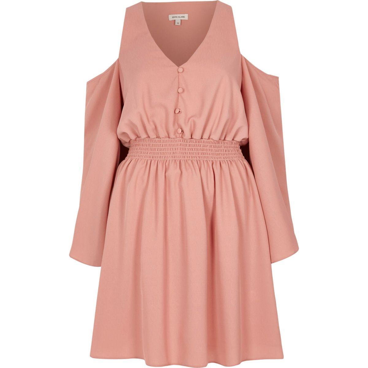 Pink cold shoulder button front dress
