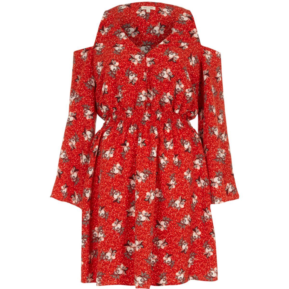 Red floral print cold shoulder dress