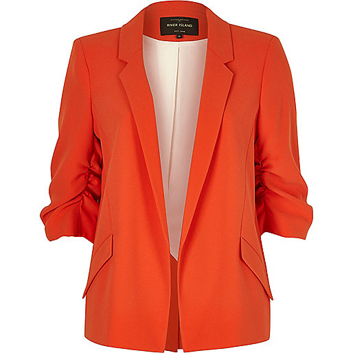 Red ruched sleeve blazer