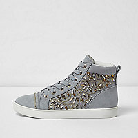 Grey embellished hi top lace-up trainers