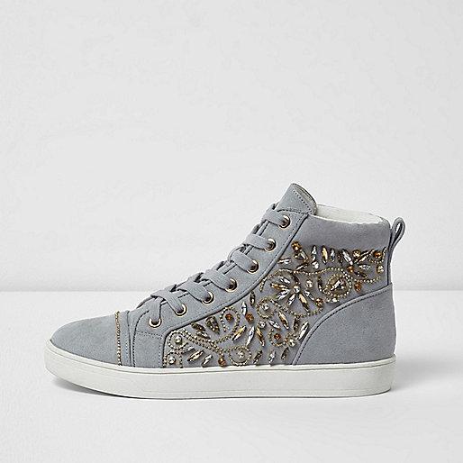 graue hohe sneaker zum schn ren plimsolls sneaker. Black Bedroom Furniture Sets. Home Design Ideas