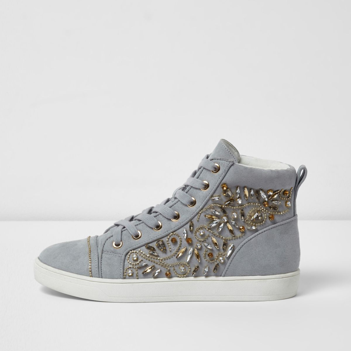 Grey embellished hi top lace-up sneakers