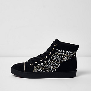 Black embellished hi top lace-up trainers